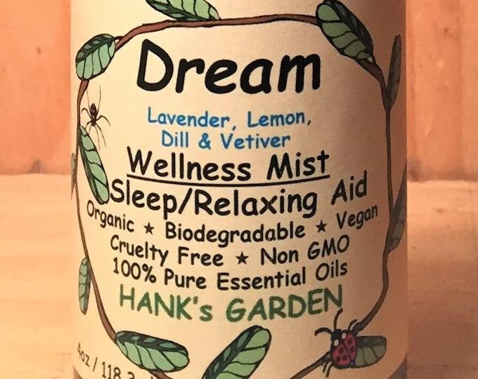 Featured listing image: DREAM Wellness Mist Relaxation Sleep Aid Aromatherapy Spray Mist - Lavender, Lemon, Dill & Vetiver- Organic - Vegan - Cruelty Free - Non GMO