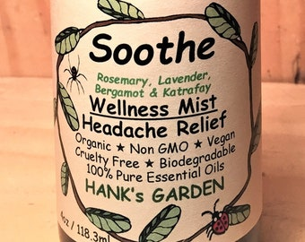 SOOTHE Wellness Mist - Headache/Pain Relief - Rosemary, Lavender, Bergamot & Katrafay - 100% Essential Oils Organic, Vegan, Cruelty Free