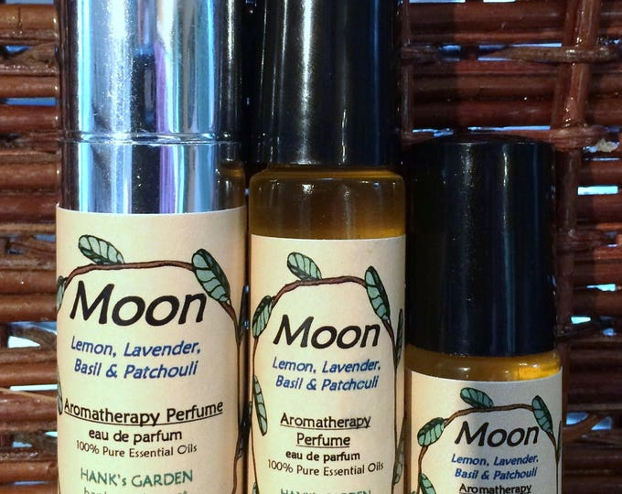 Featured listing image: MOON Aromatherapy Unisex Perfume - Lemon, Basil, Lavender & Patchouli - 100% Pure Essential Oils, Vegan, Organic, Cruelty Free