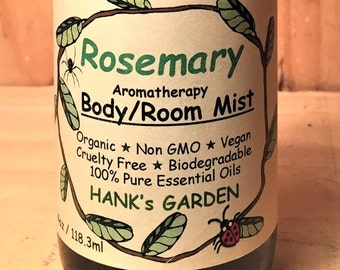 ROSEMARY Aromatherapy Body Room Mist - Vegan, Cruelty Free, Biodegradable,  Organic, 100% Pure Essential Oil, Non GMO