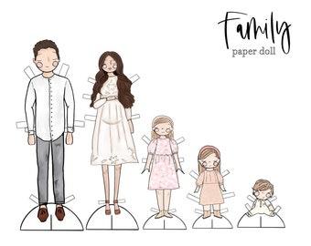 Family Portrait Paper Dolls / Family Paper Dolls / Family Illustration