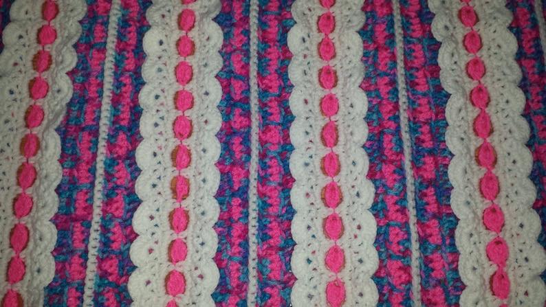 Handmade Crocheted Variegated Pink Purple Blue /& White Baby Girl Afghan 40 x 45
