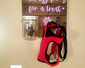 Always Paws For a Treat dog/puppy/pet leash and Mason jar treat holder in purple