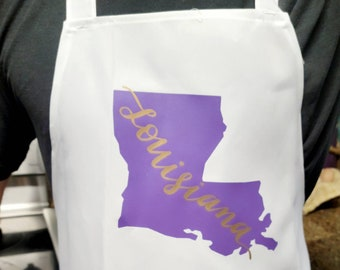 Purple and Gold or Black and Gold Louisiana aprons in white or black