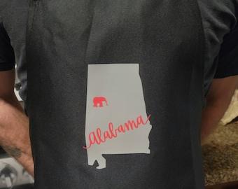 Alabama Tuscaloosca Apron, gray and crimson on black or white