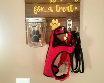 Always Paws For a Treat dog/puppy/pet leash and Mason jar treat holder in sparkle gold