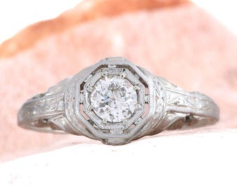 Vintage diamond engagement ring Antique   Edwardian   Art deco   .36 ct old European cut diamond   18 kt white gold    Filigree   circa 1910