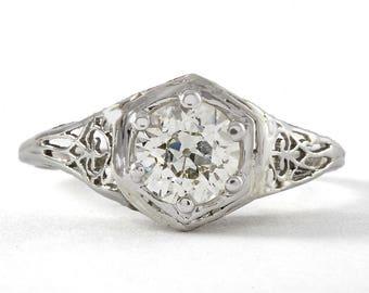 Vintage diamond engagement ring   0.91 carat old European diamond   platinum filigree   Edwardian   art deco   GCAL certificate JK VS2