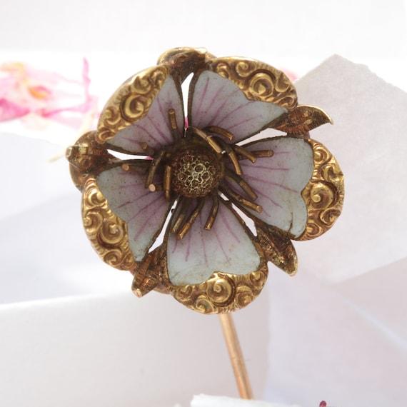 Antique gold enamel Cherry blossom stick pin. 14kt