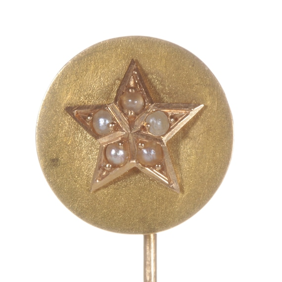 Antique gold star stick pin. Pearls, 18kt gold, Fr