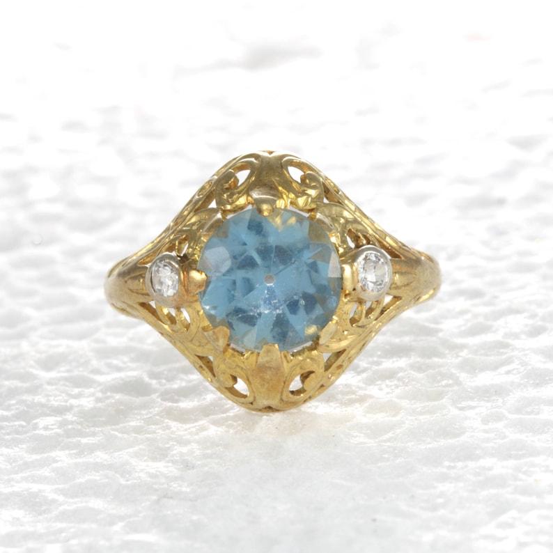 724a26b4078 Vintage Engagement ring Vintage Natural Aquamarine old   Etsy