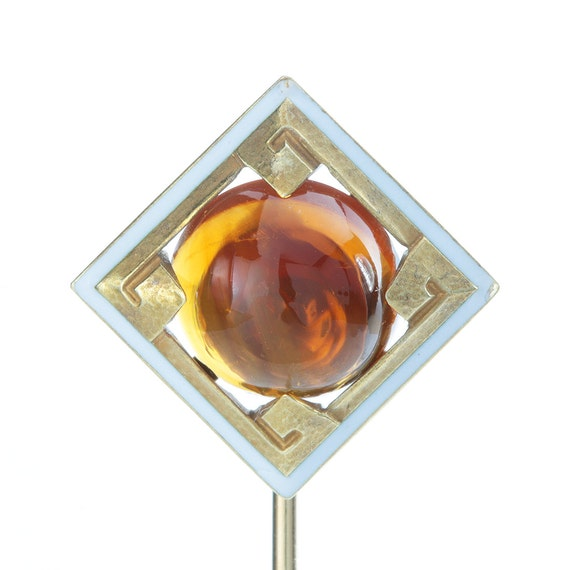Antique gold Citrine stick pin. Citrine, 14kt gold