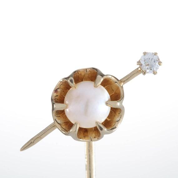 f9a1f3720 Stick pin stickpin pearl diamond gold vintage antique old | Etsy