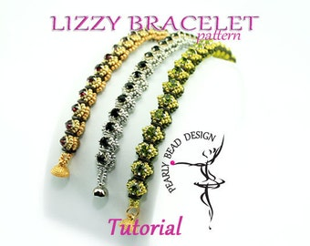 LIZZY bracelet pattern tutorial with quadra tile and chatons