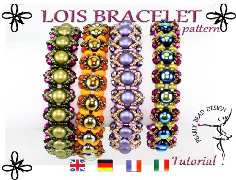 LOIS Bracelet pattern with double hole cabochon DIY tutorial