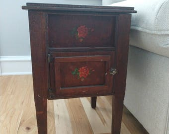 Sewing machine table etsy vintage sewing cabinet mini sewing cabinet antique end table antique nightstand sewing cabinet wood hand painted sewing cabinet watchthetrailerfo