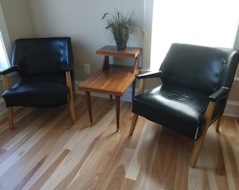 Pair Of Mid Century Club Chairs, Art Deco Wood Lounge Chairs, Vintage Black  Patent Leather/Vinyl, Retro Lounge Chairs, Retro Easy Chairs