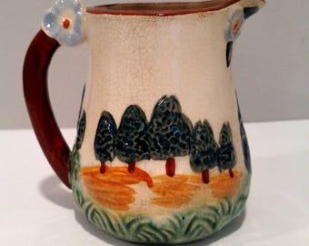 Vintage Glazed Creamer, Made In Japan, Porcelain, Wood, Forest Design
