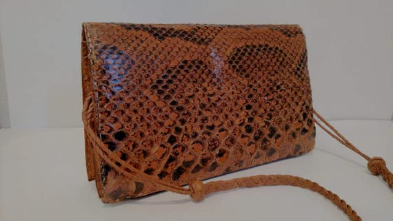 Snakeskin Shoulder Bag, Snakeskin Purse, Leather S