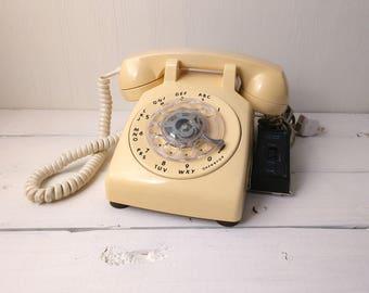 Rotary Telephone - Tan/Yellow-ish, ITT Vintage Phone