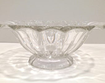 Clear Glass Bowl, Fluted Glass Bowl, Footed Centerpiece