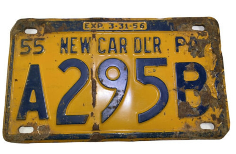 Vintage 1955 Pennsylvania License Plate RARE New Car Dealer