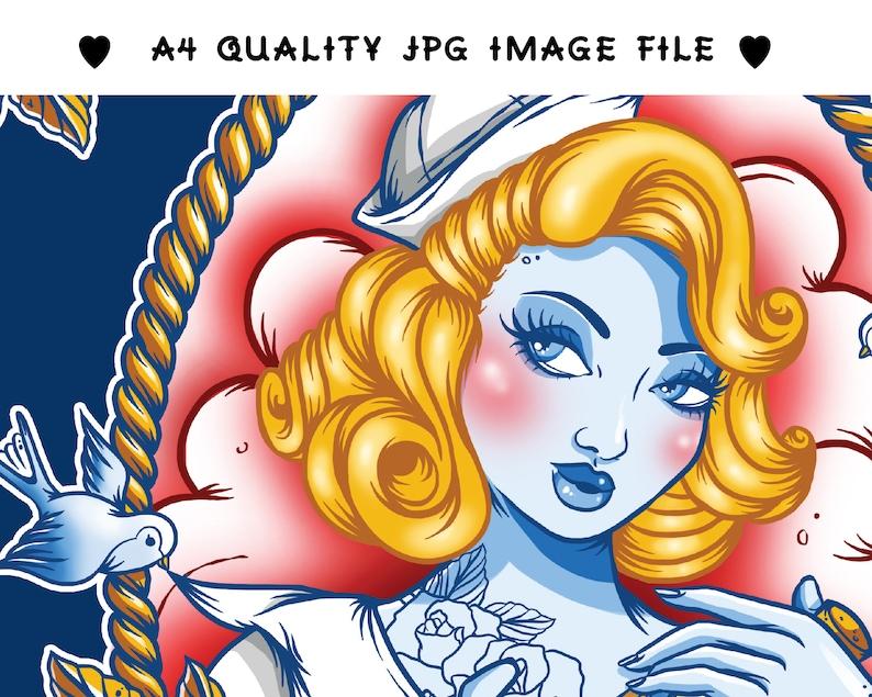 Digital Download TattooFlash Style Print Creep Heart Nautical Pin Up Printable Wall Art