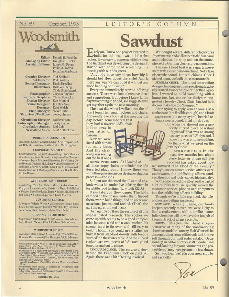 Woodsmith October 1993 Softcover Edition