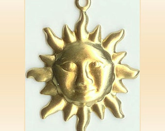 24 Sun Face Brass Charms Scrapbook Jewelry Findings Embellishments