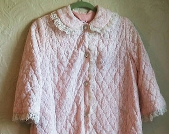 Vintage 60's Quilted Robe/ House Coat. Rhapsody by Glacier Robe. Vintage Lingerie night robe.