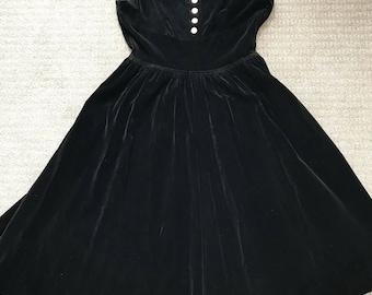 bdd5d83f852a 1950 s vicky vaughn dress black velvet gold buttons holiday party vintage