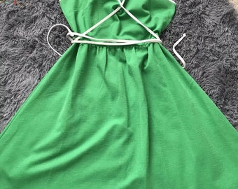 3aab8d6dfd Vintage green white sunshine alley dress 1970 s fit flare piping