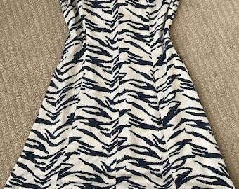 Vintage 1960's zebra animal print dress white navy blue pinup large