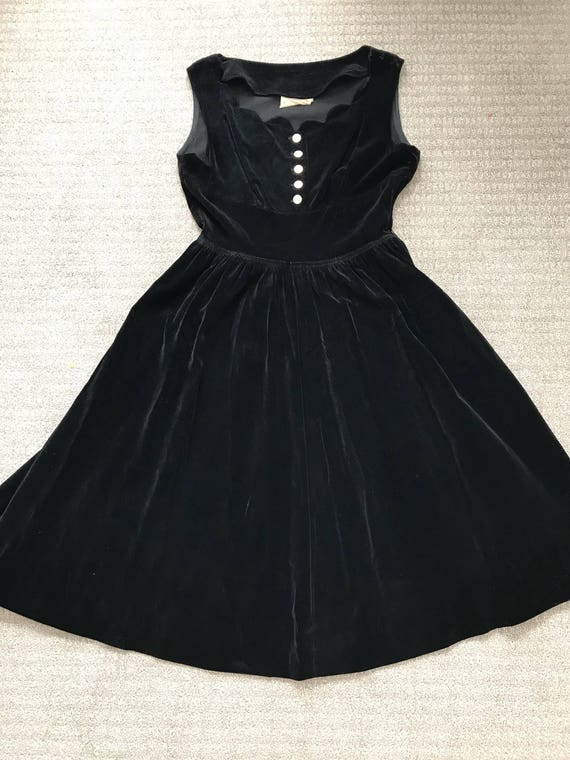 1950's vicky vaughn dress black velvet gold button