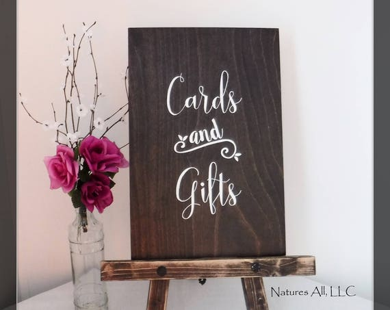 "Rustic Wedding Sign/""Cards And Gifts""-Large/ Wedding Cards And Gifts Sign AND Table Top Easel/Rustic Wedding Sign/ Hand Painted Sign"