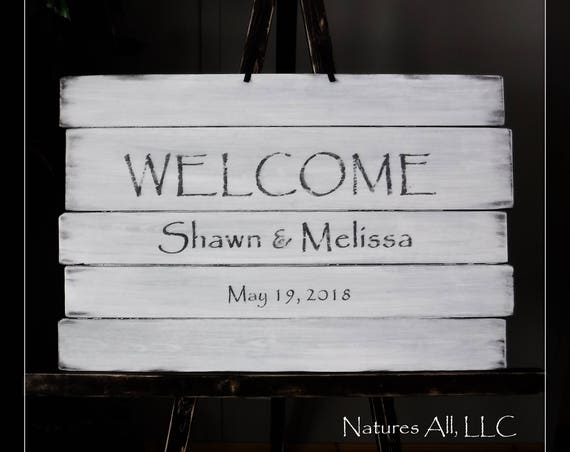 Wedding Sign-Welcome/White Washed-Distressed/ Large Wedding Sign/Custom Wedding Sign/Rustic Welcome Wedding Sign/Wood Wedding Reception Sign