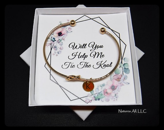 Tie The Knot Bracelet/Personalized Bridesmaid Gift/Bridesmaid Proposal/Gift For Maid Of Honor