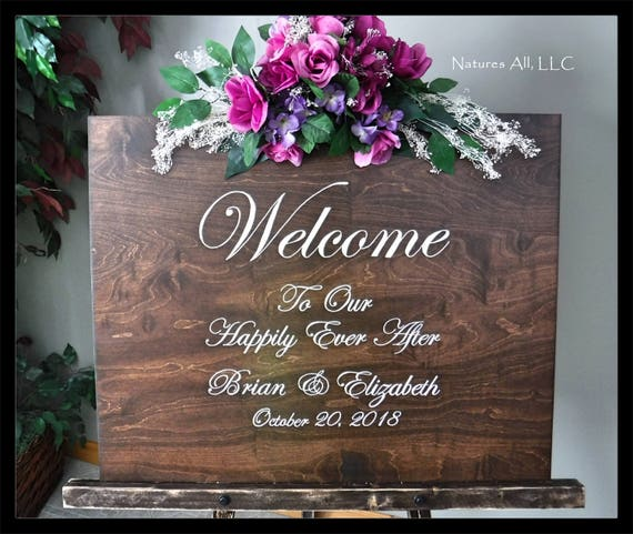Wedding Sign-Welcome To Our Happily Ever After/ Large Custom Wedding Sign/Rustic Wood Wedding Sign/Wedding Reception Welcome Sign