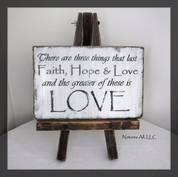 Faith, Hope, Love Sign/White Washed Distressed Letters/Inspirational Sign/Christian Wall Art/Farmhouse Decor/Whitewashed Wall Decor