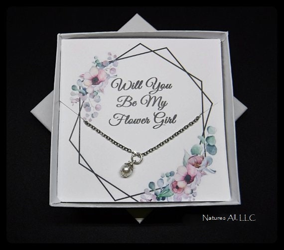 Flower Girl Gift/Flower Girl Proposal/Will You Be My Flower Girl Necklace/Gift For Flower Girl/Flower Girl Necklace