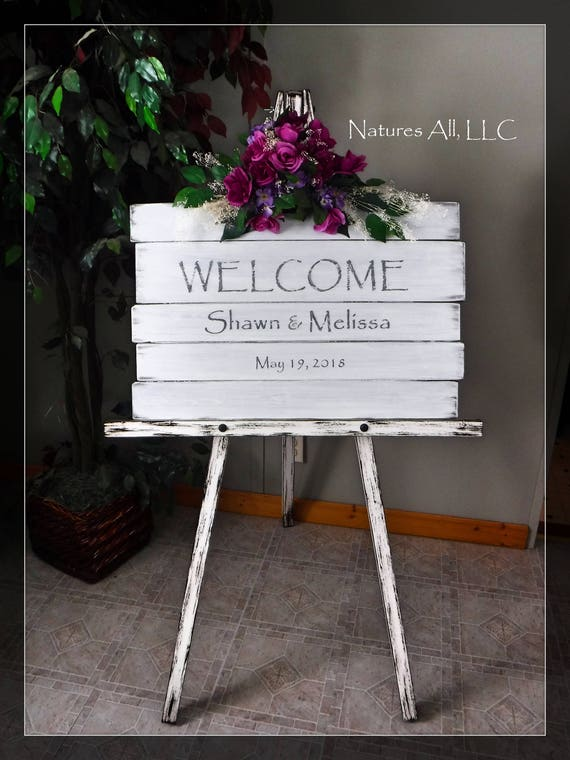 Wedding Sign-Welcome/White Washed Welcome Sign AND Large Floor Easel/Rustic Wedding Sign/Custom Wedding Sign/Wood Wedding Reception Sign