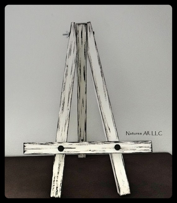 Rustic Table Top Easel/Small Easel/Distressed White/Distressed Wood/Farmhouse Decor/Wedding Sign Easel