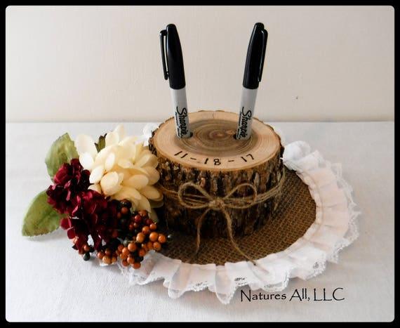 Pen Holder/Guest Book Pen Holder-Ash/Rustic Wood Pen Holder/Log Pen Holder/Rustic And Country Wedding Decor/Rustic Wedding Ideas