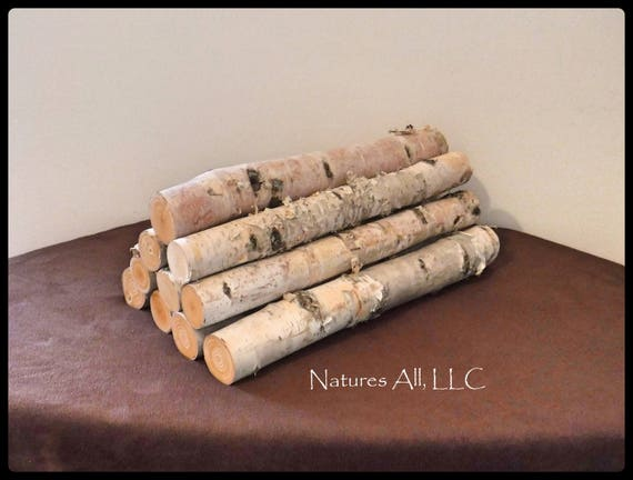 Decorative White Birch/White Birch Fireplace Logs/10 Piece Set/16 Inch Length/For Weddings & Home Décor/Shipping Included