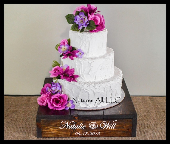 "16"" Rustic Wedding Cake Stand/Personalized Option/Dark Walnut/Cupcake Stand/Country Wedding Decor/Rustic Cake Stand"