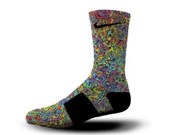 Custom Nike Elite Socks KD LeBron Kobe All Sizes HoopSwagg GRAFFITI