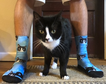 Customized Cat Socks - Put Your Cute Cat on Custom Socks, Cat Lovers, Cat GIft, Cute Cat Personalized, Cat Gift Socks, Fathers Day Gift