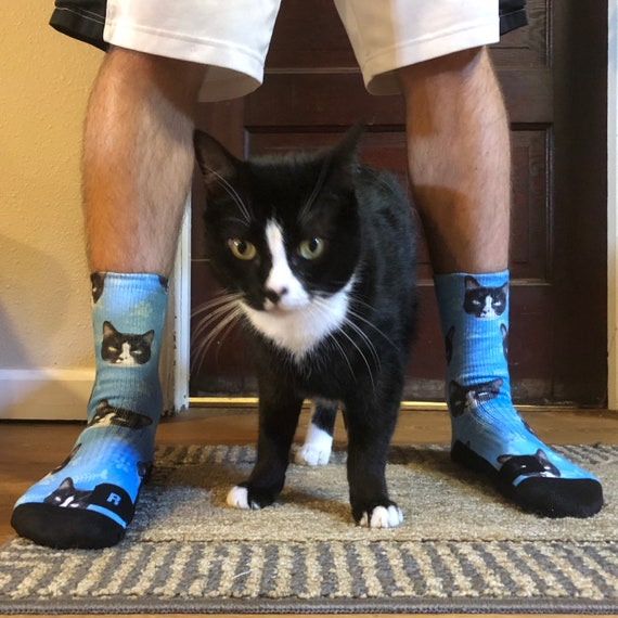 Cat Socks Coffee Cat Socks Cute Kitty Personalized Fathers Day Mothers Day Cat Gift Kitty Lovers