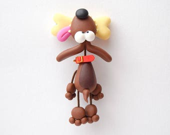 Dog Fridge Magnet / Danglin' Dog / Gift for Dog Lover / Bad to the Bone / Fun Gift