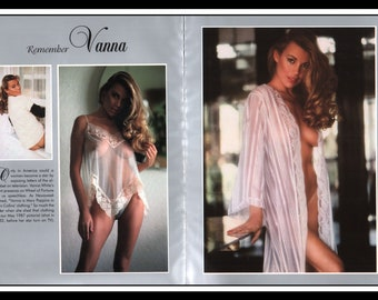 Mature Playboy Vintage Pinup January 1994 Vanna White Pinup Mature Wall Art Deco 2 Page Spread Print Nude